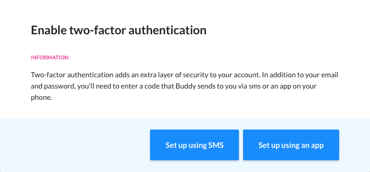 Enabling two-factor authentication