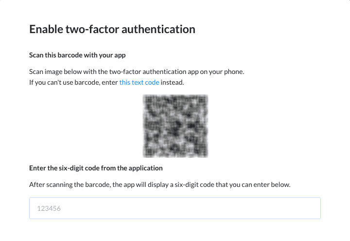 Google Authenticator 2FA setup