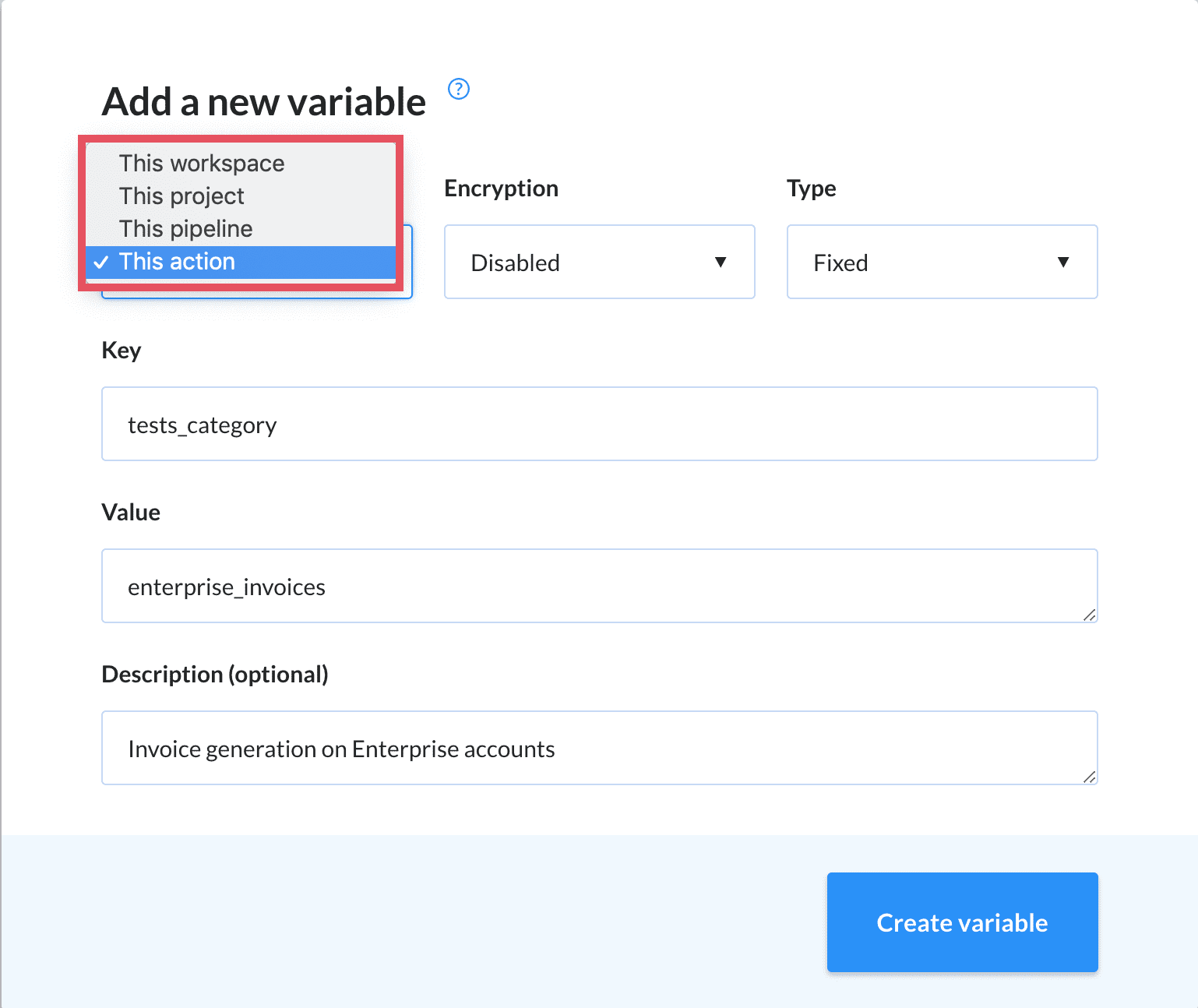 Variable build actions