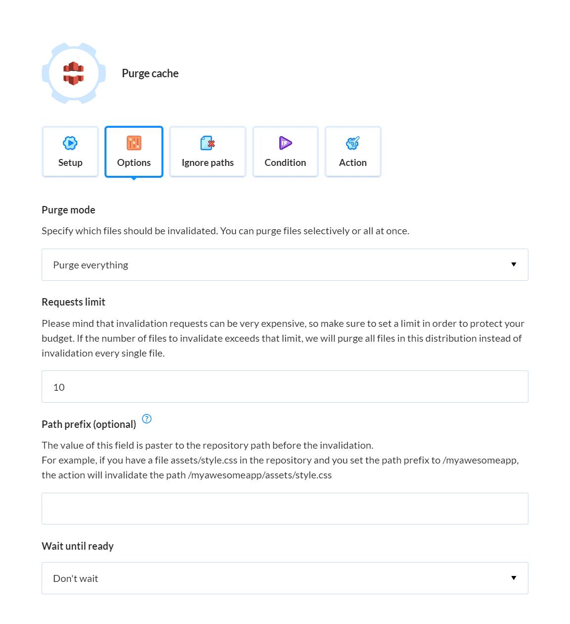 CloudFront action details