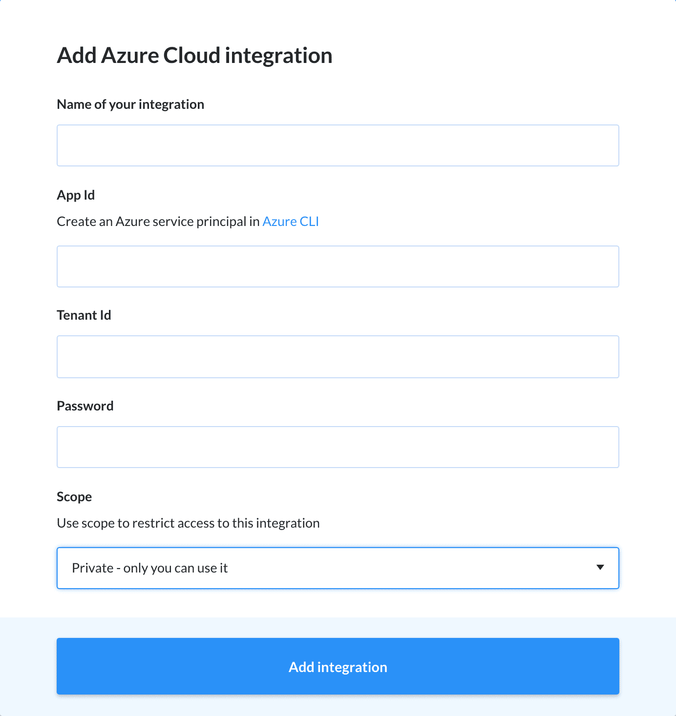 Adding Azure Cloud integration