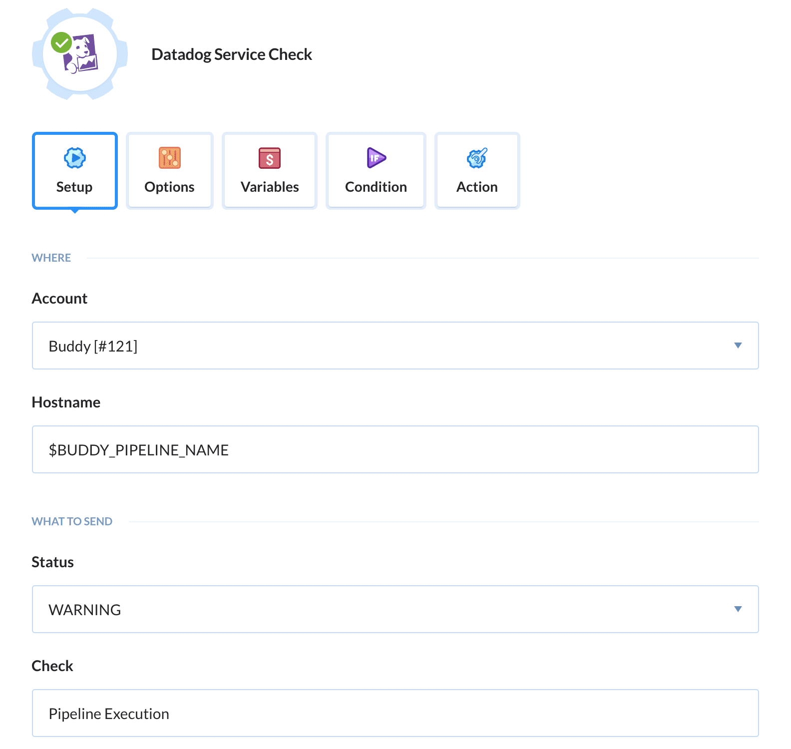 Configuring Datadog action
