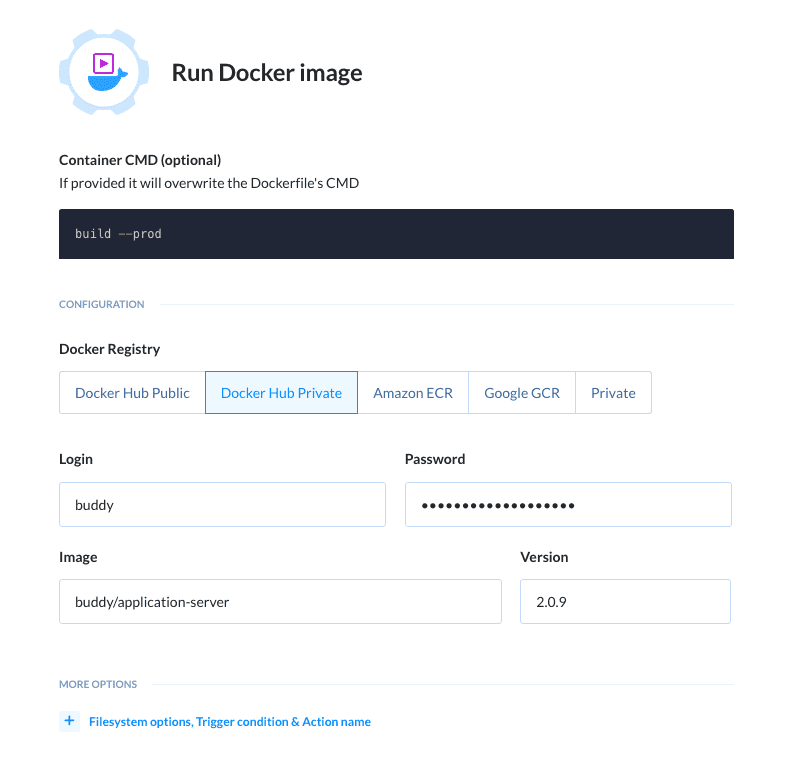 'Run Docker image' action details