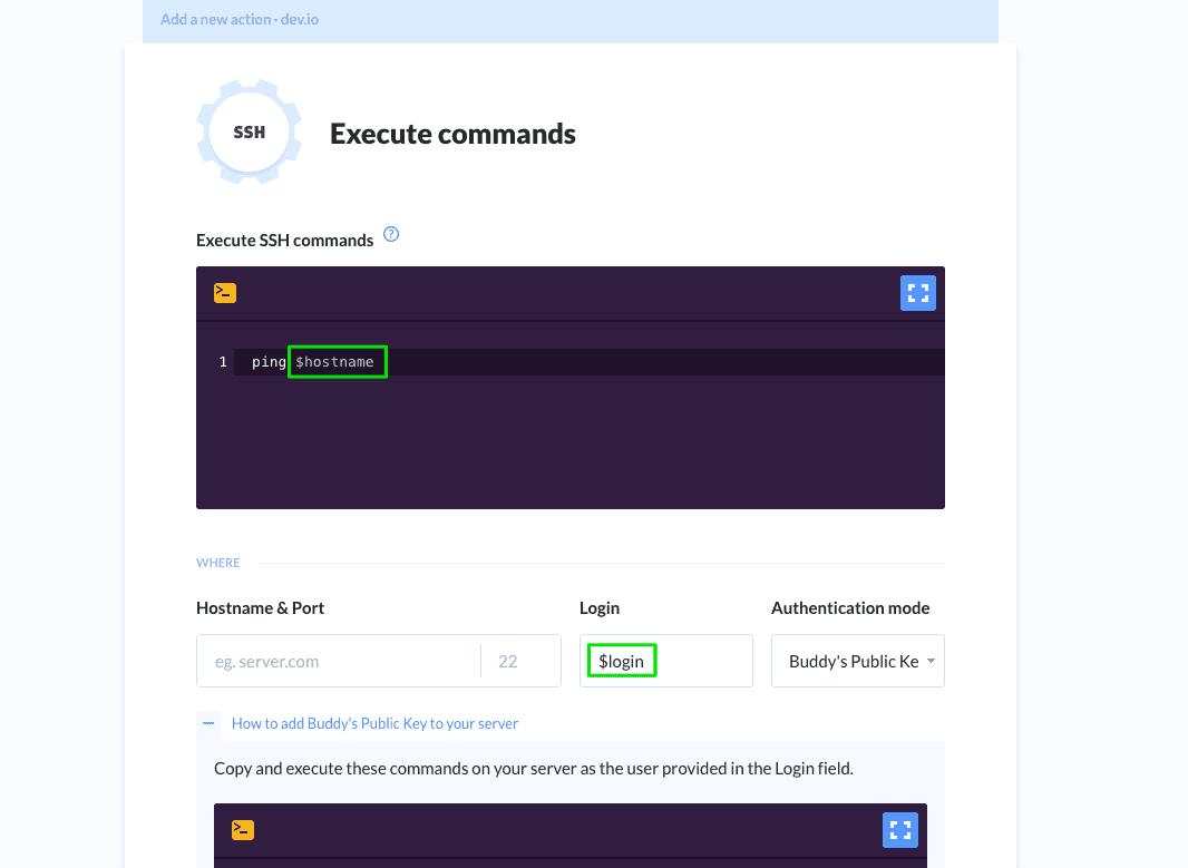 SSH command box