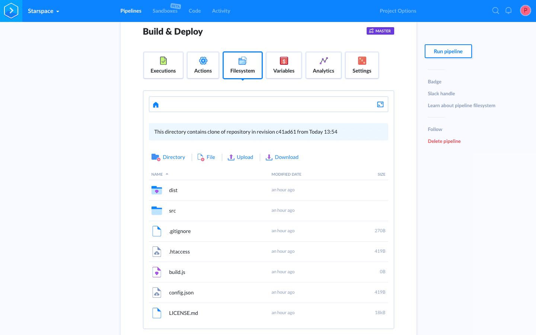 Filesystem tab