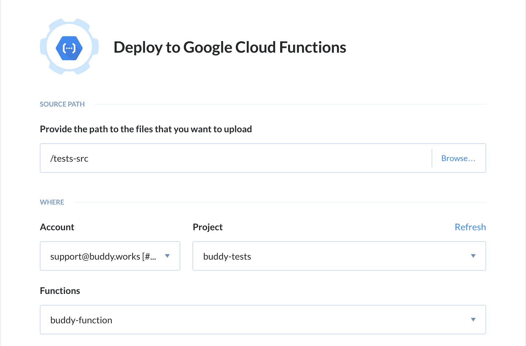 Google Cloud Functions configuration