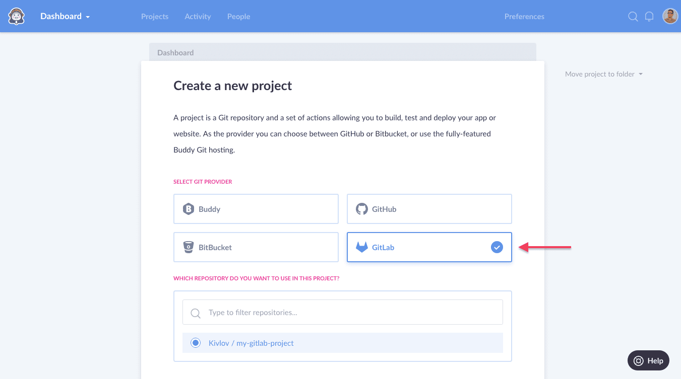 Creating a new project with GitLab