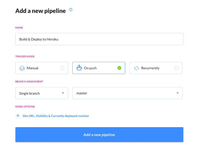Creating a new pipeline