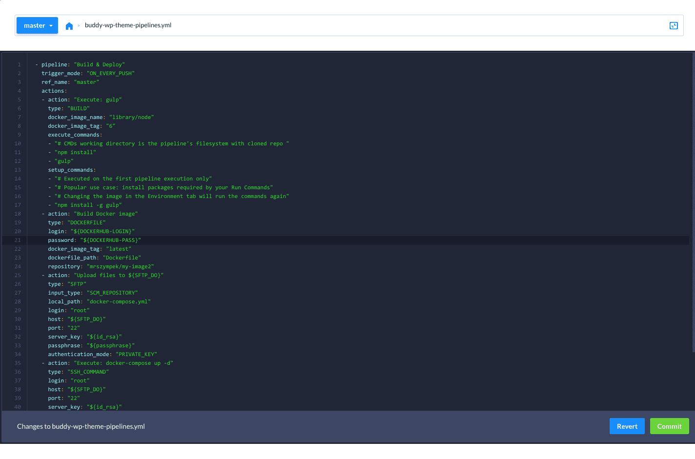 Pipeline configuration file