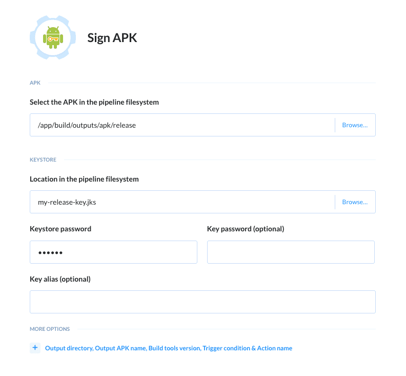 Sign APK action details