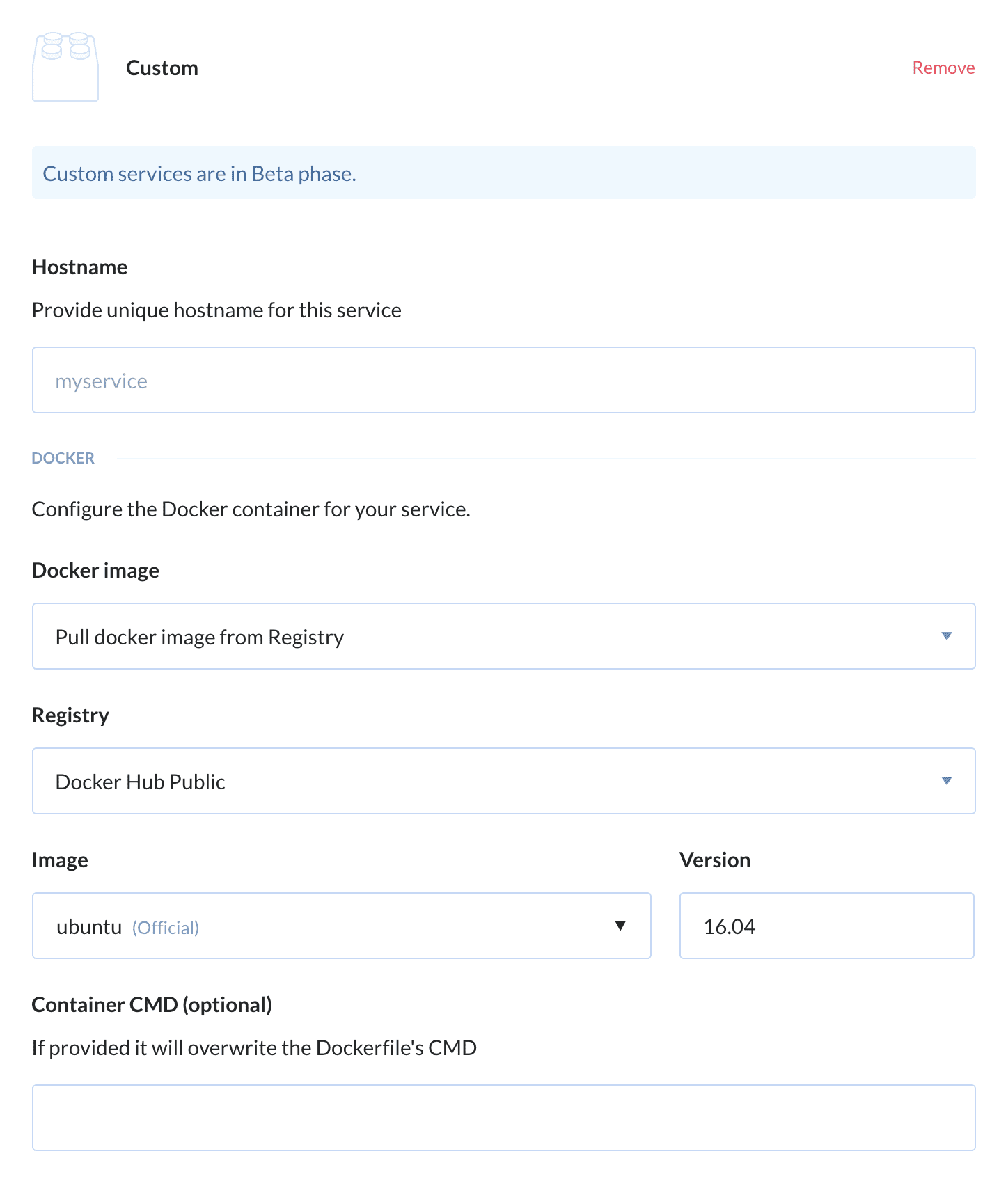 Custom service configuration