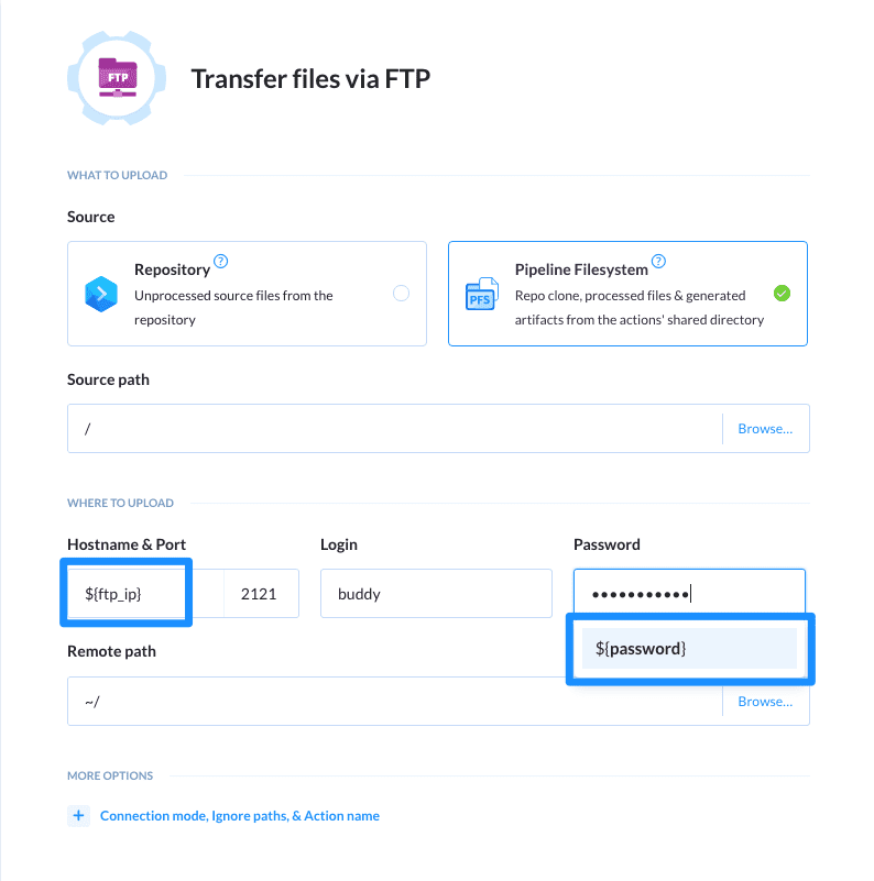 Pass parameter in FTP transfer action