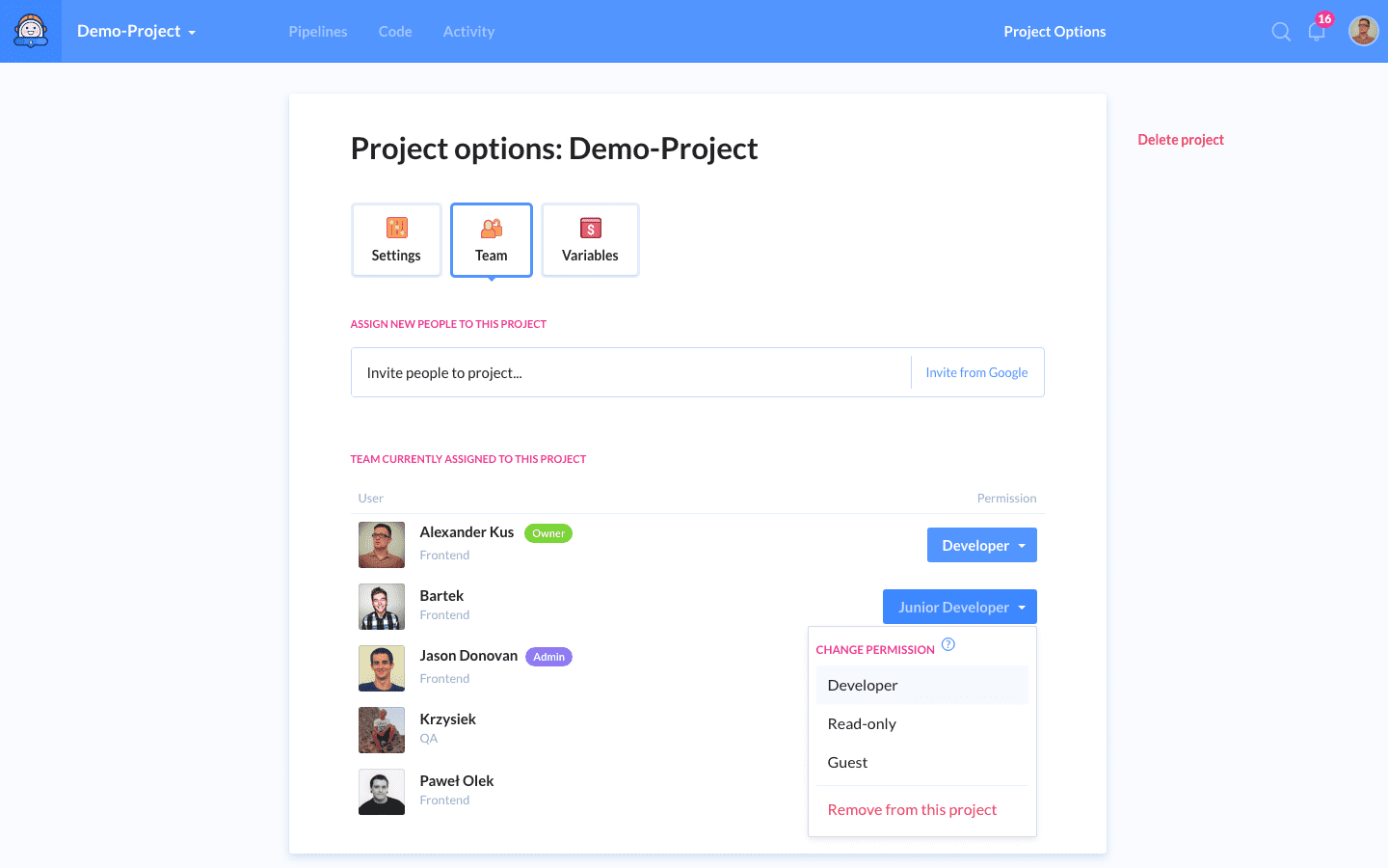Defining permissions in project