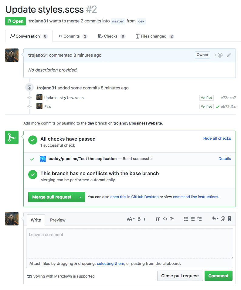 Pull request status on GitHub