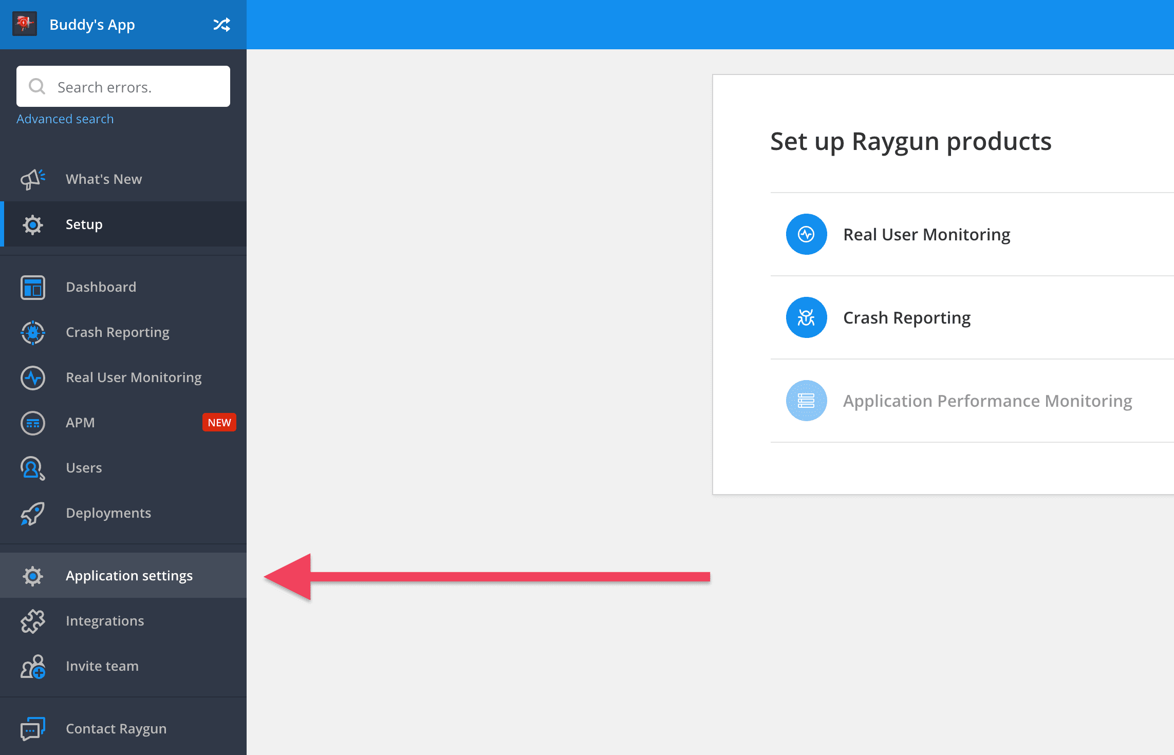 Raygun application settings