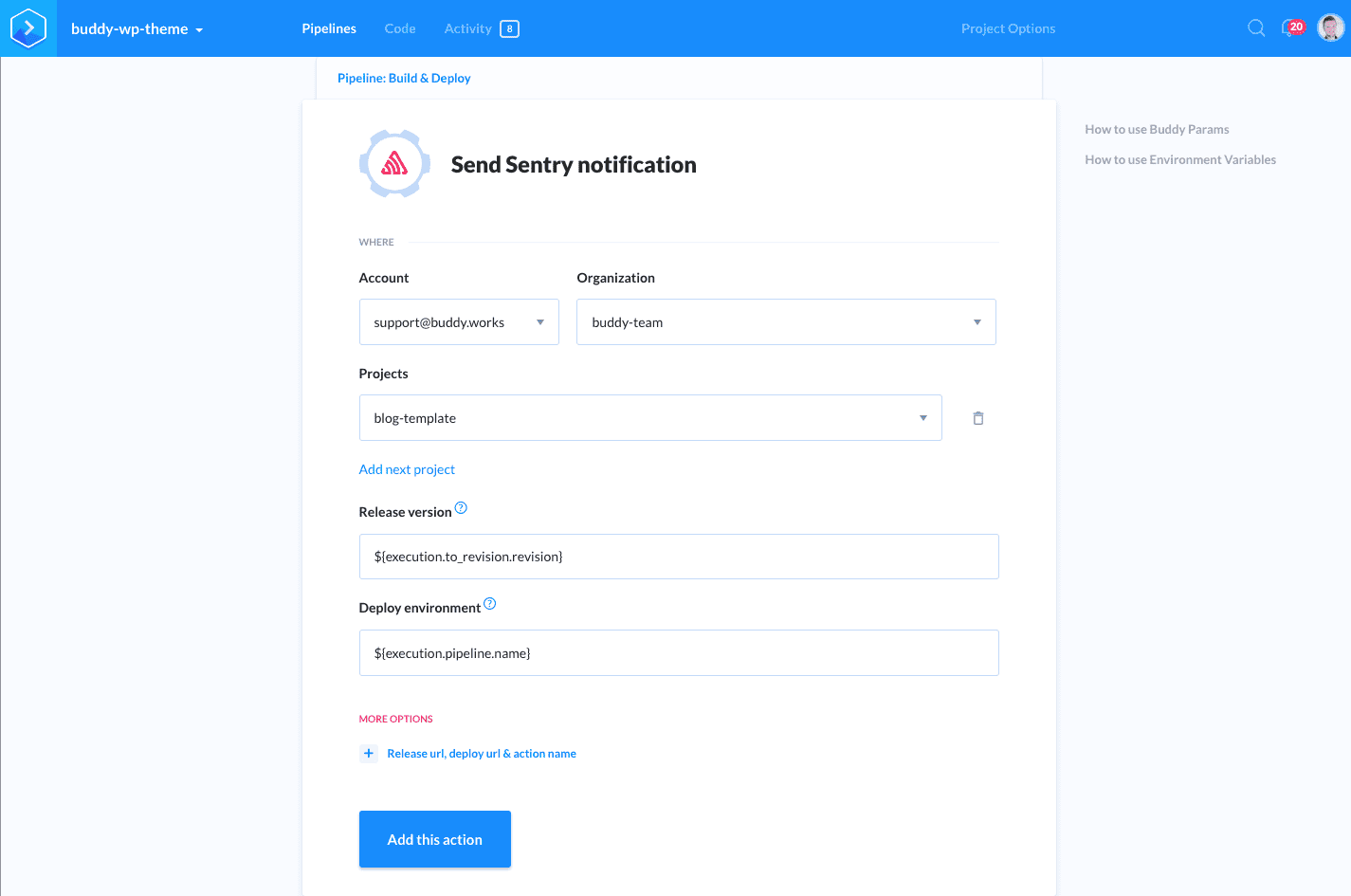 New feature: Sentry integration | Buddy: The DevOps