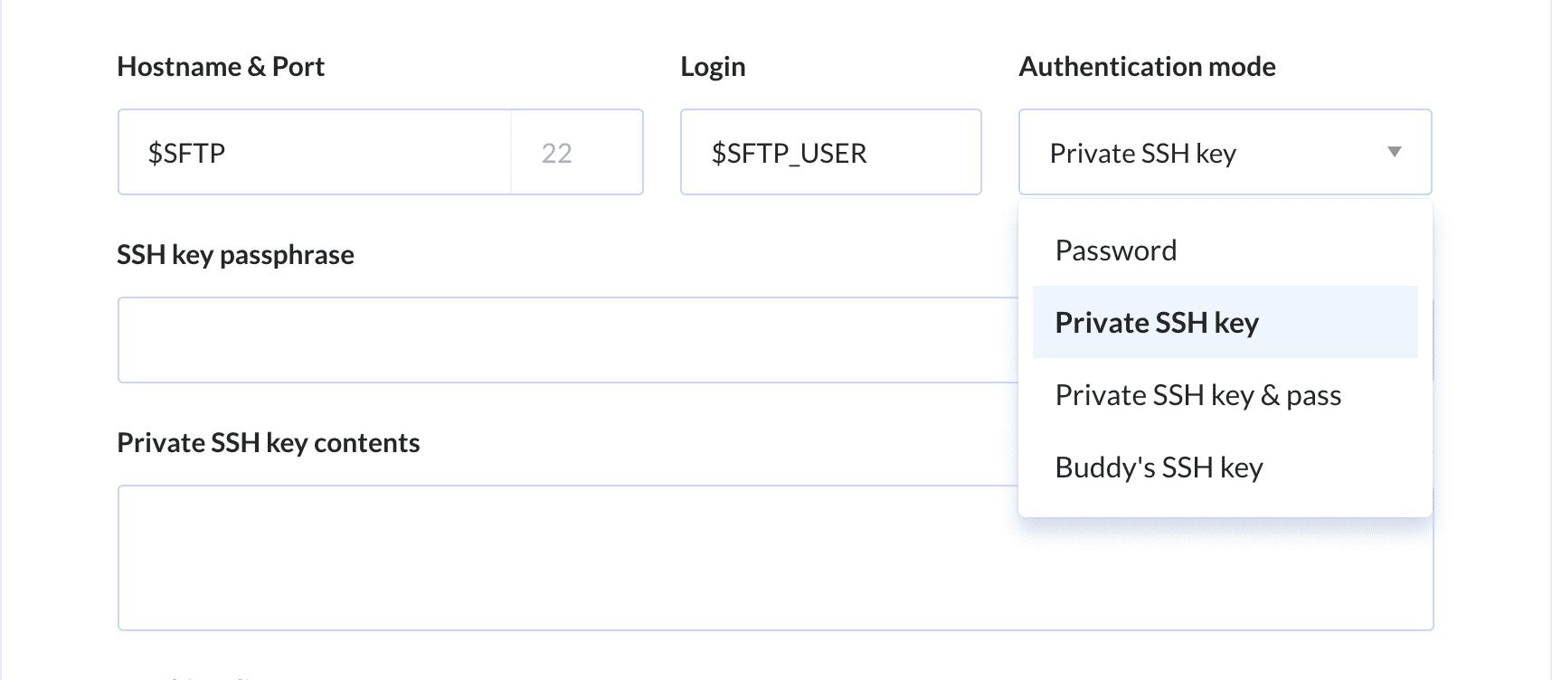Setting a private SSH key