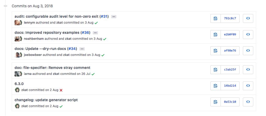 GitHub commits list