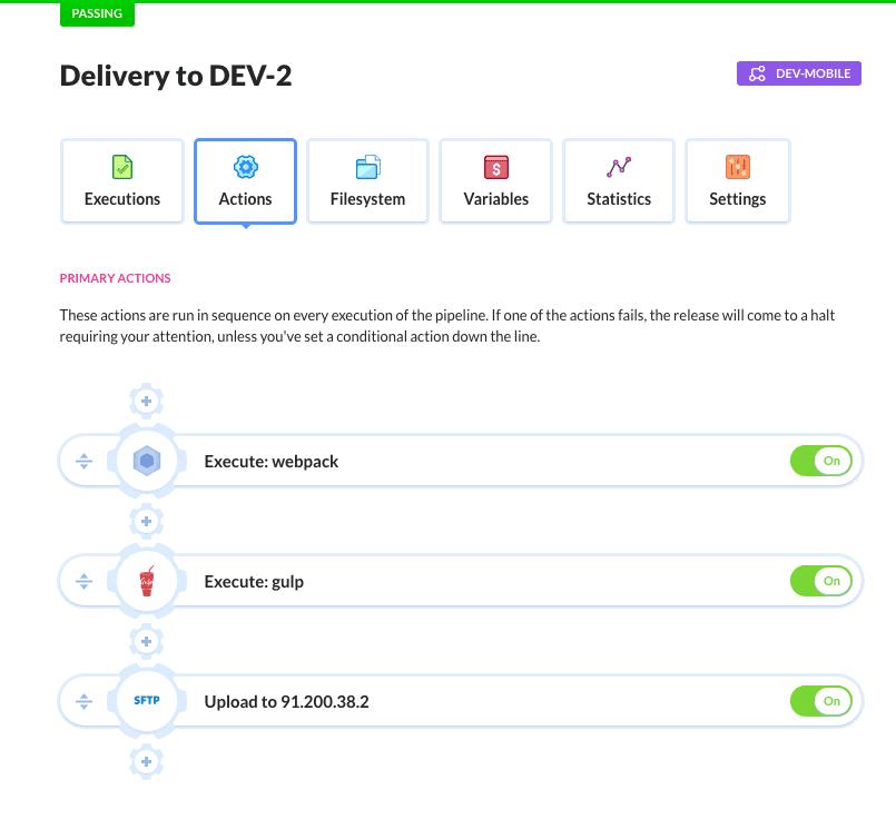 Gulp/Webpack delivery pipeline in Buddy