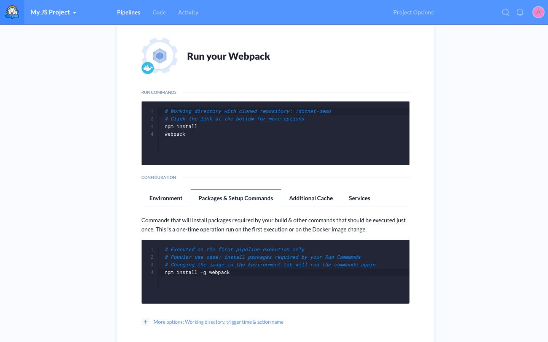 Webpack action details