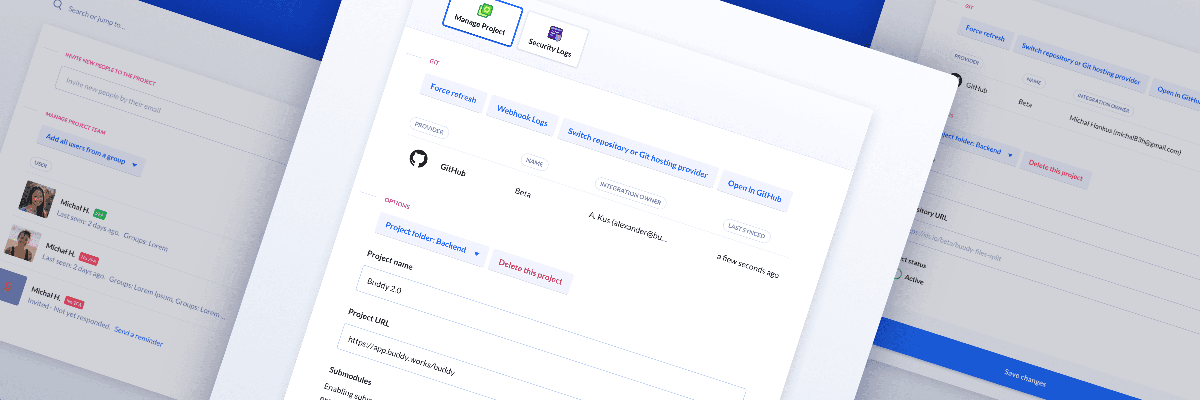 Buddy v2.0: New Project Settings & Teams views