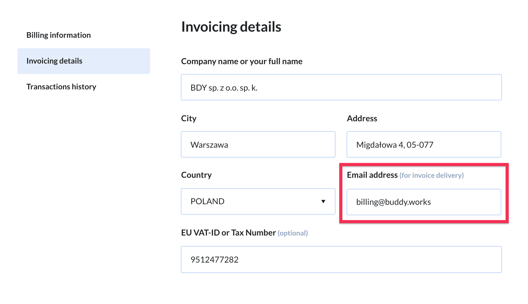 Invoicing email address