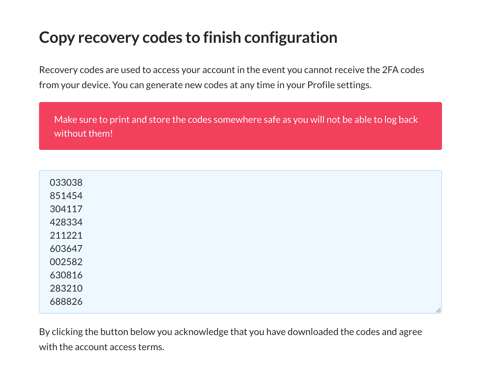 Recovery codes screen