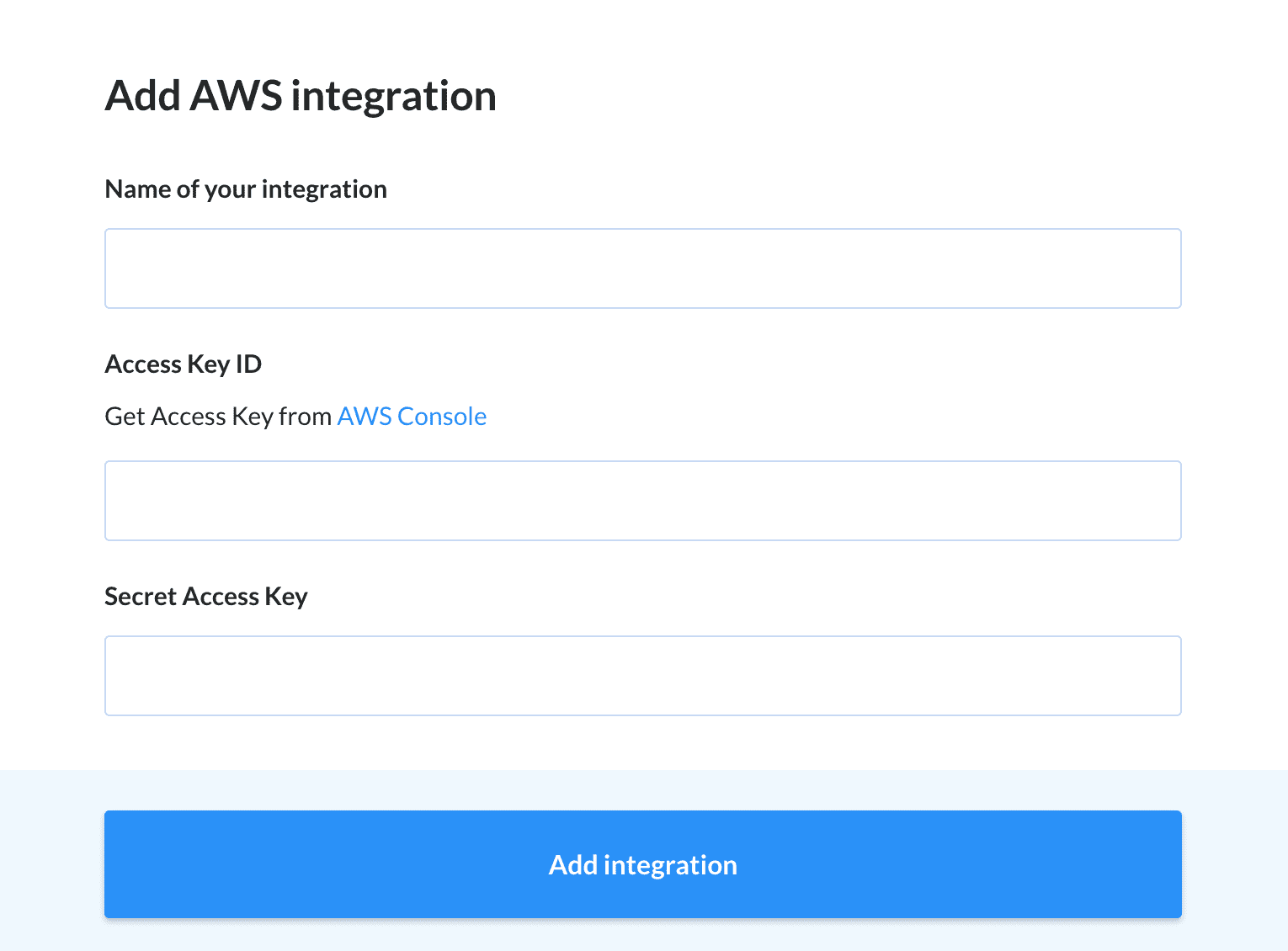 Adding an AWS integration
