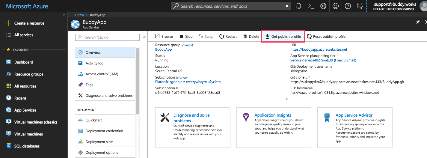 Fetching publish profile from Azure panel
