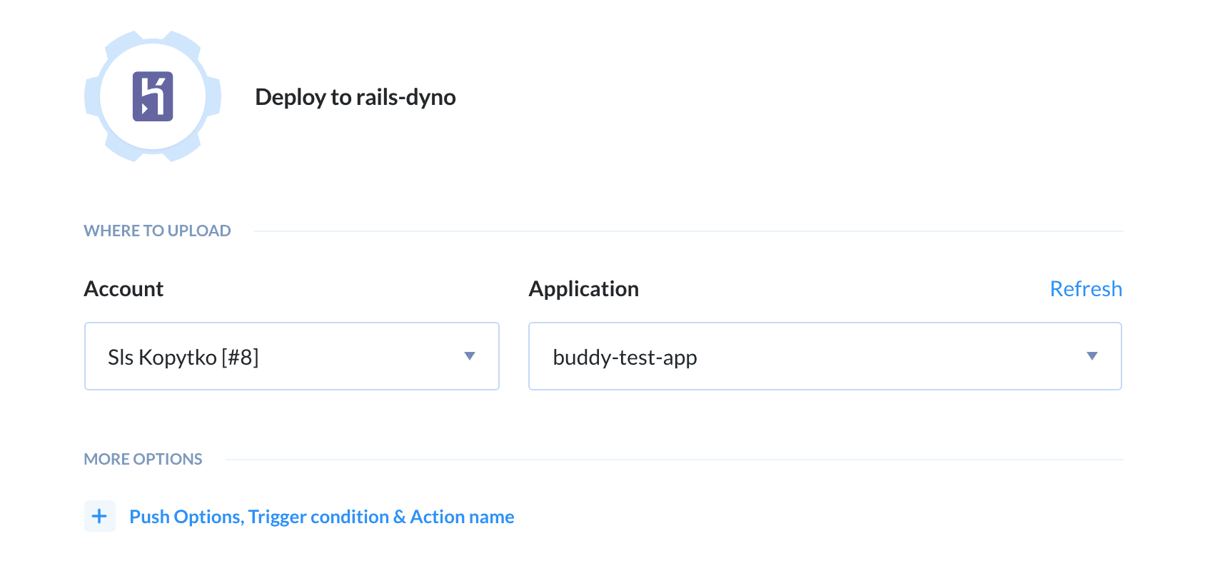 Configuring Heroku action