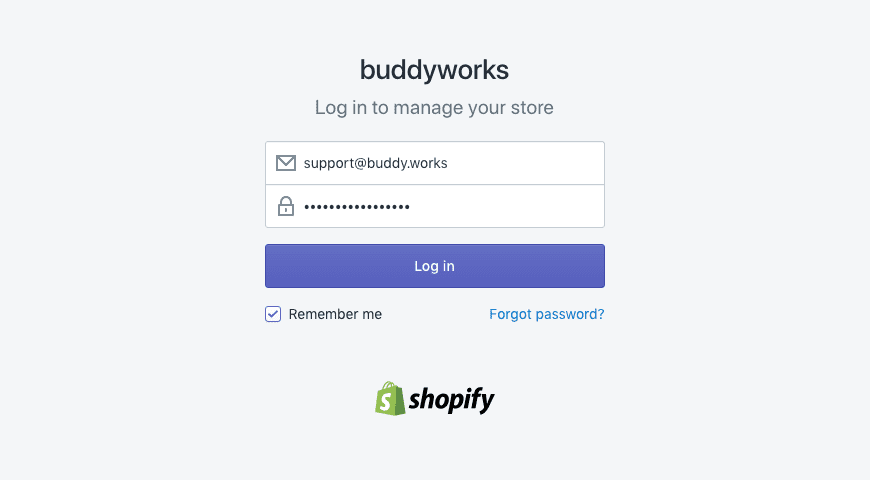 Logging in to Shopify