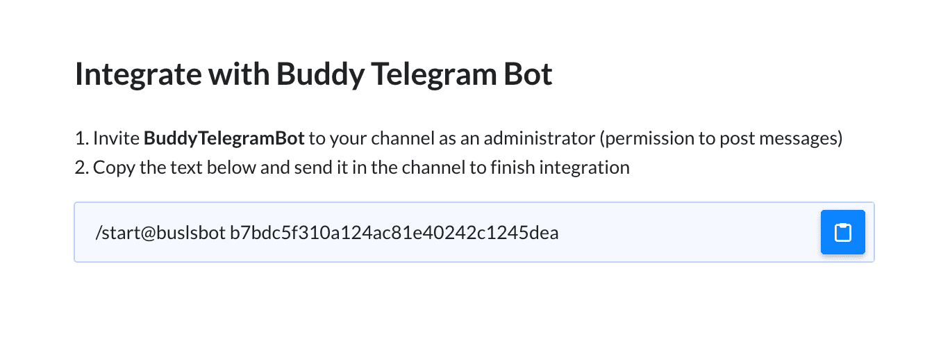 Integrating Buddy with Telegram Bot