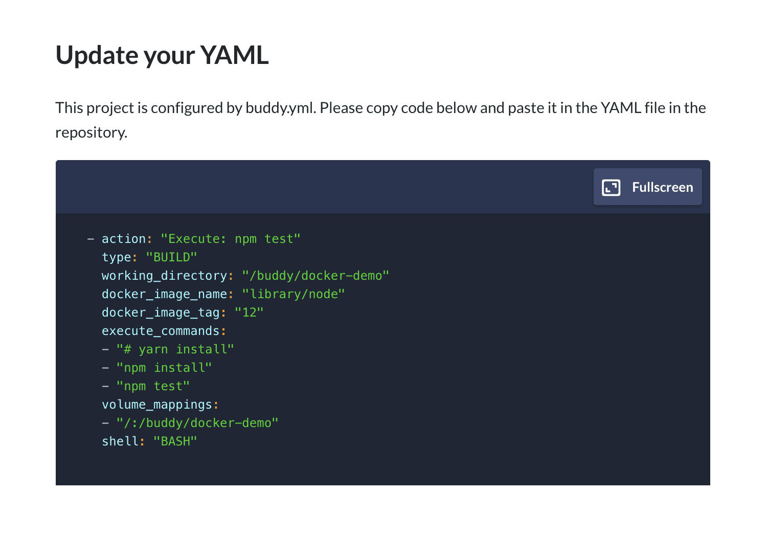 Action configured in YAML