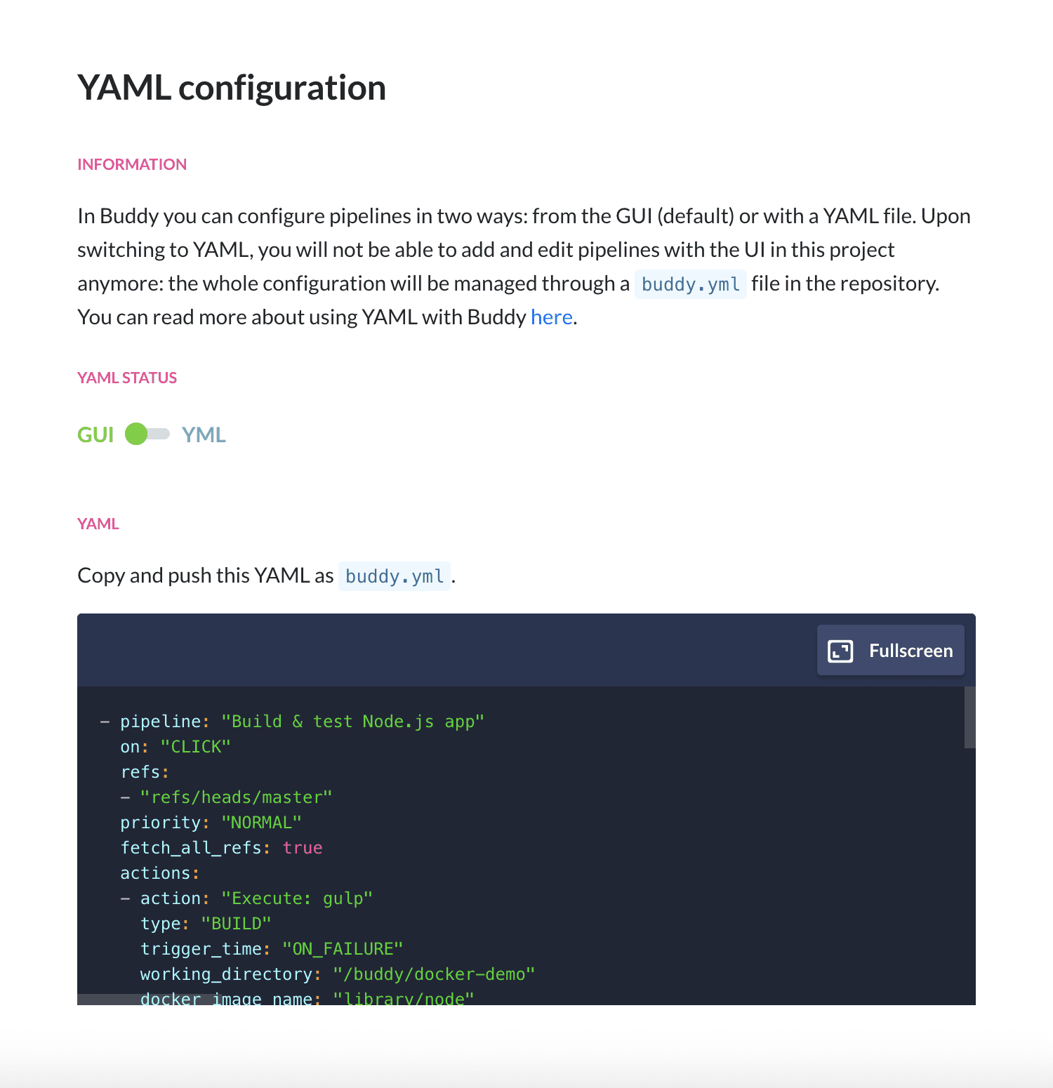 Switching YAML to GUI