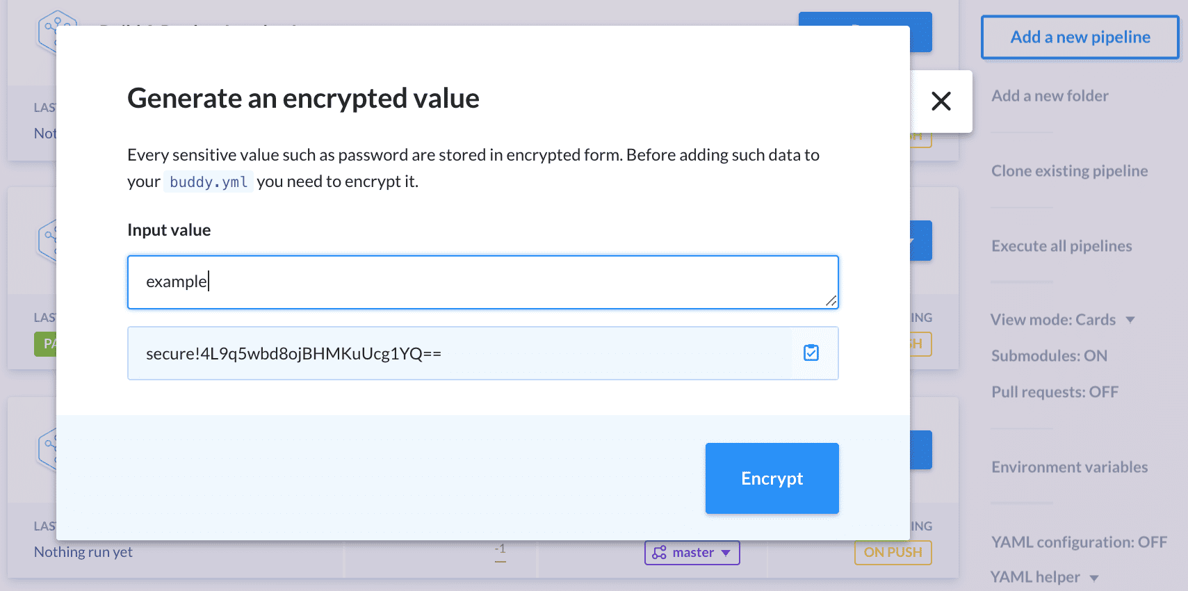 Setting a new encrypted value