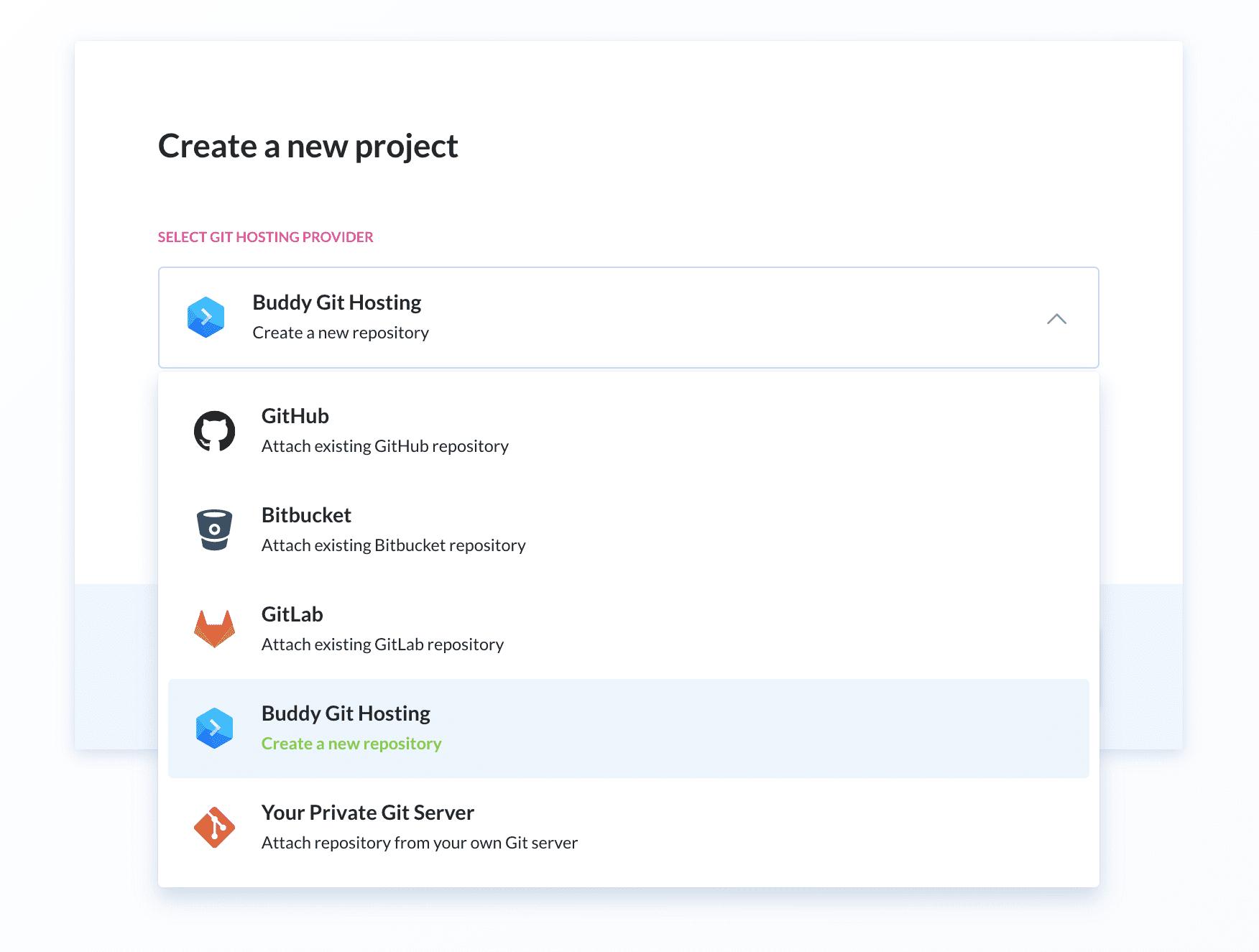 Git provider selection screen