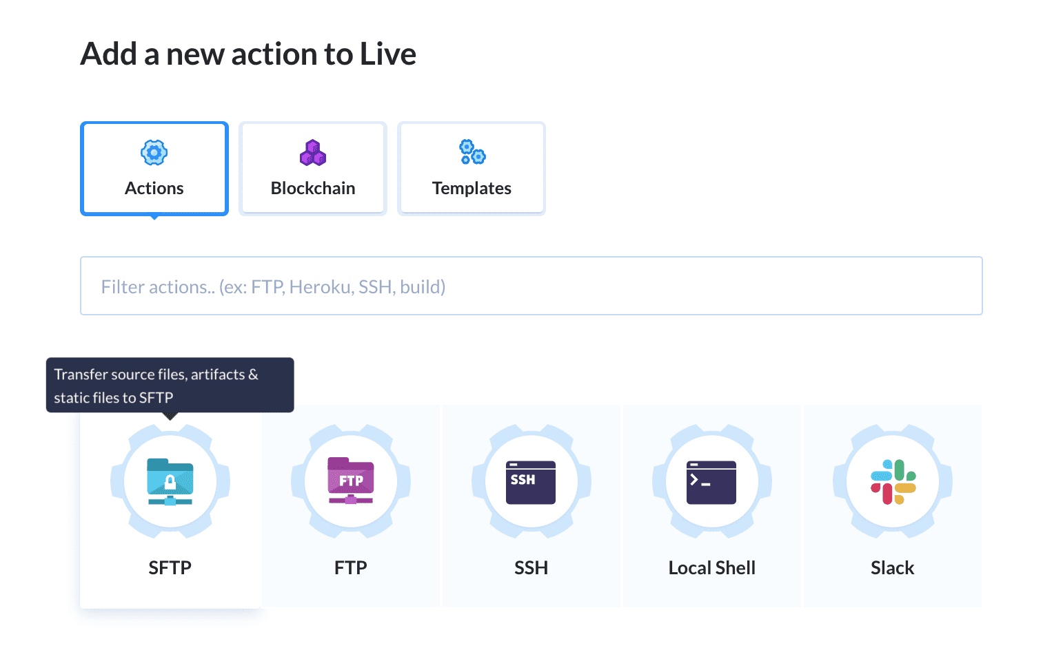 Selecting the upload action