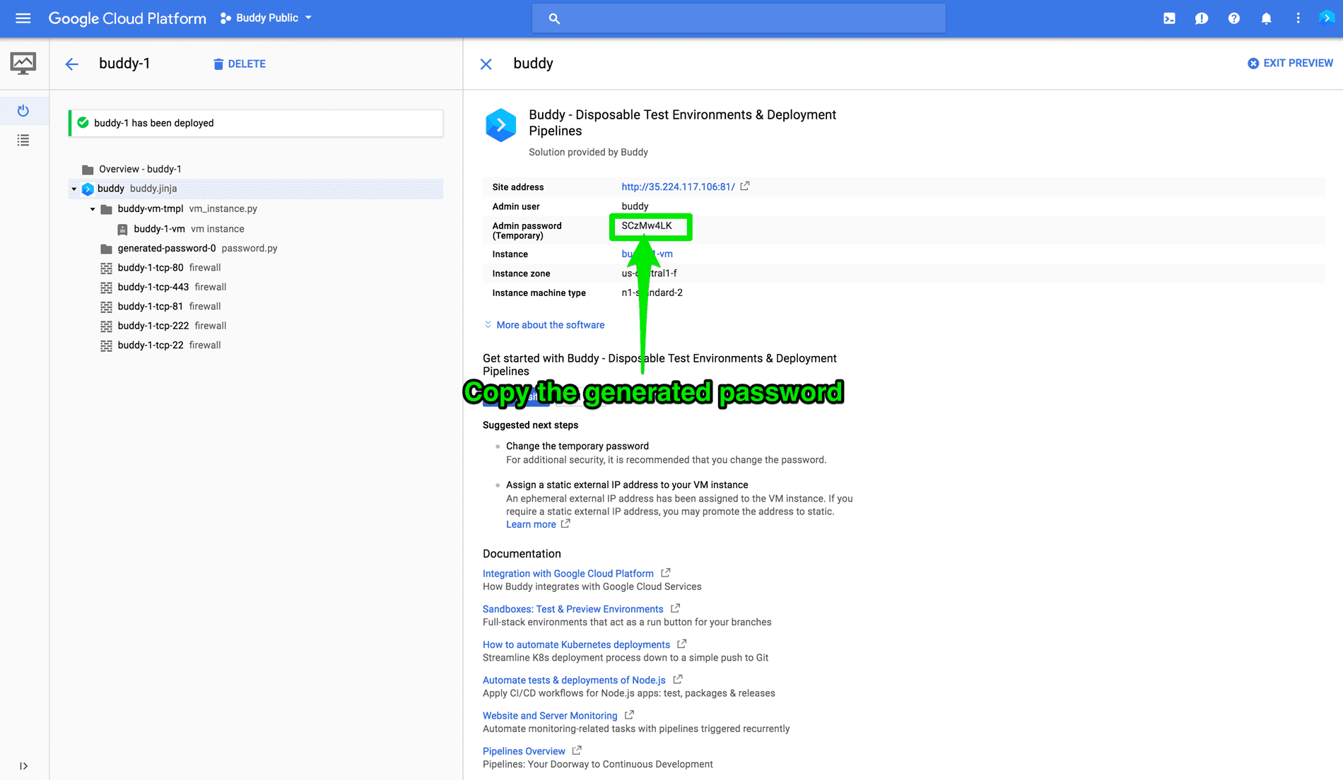Temporary password in GCP