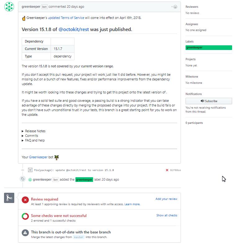 Greenkeeper results in GitHub