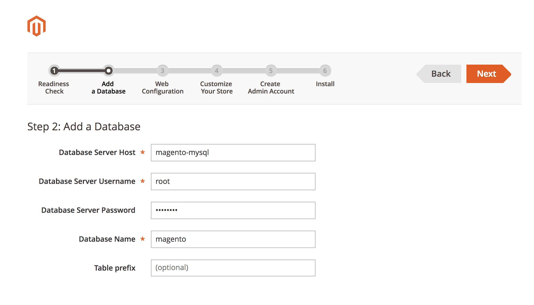 Adding Magento database
