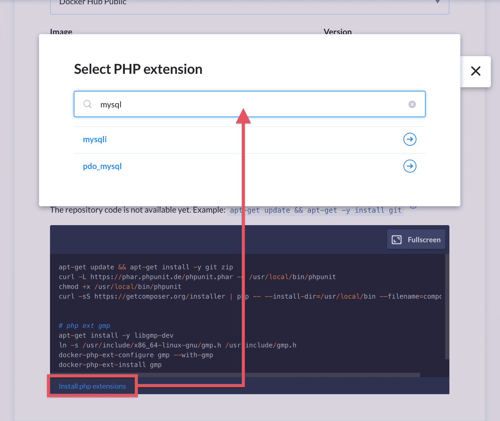 Selecting PHP extension