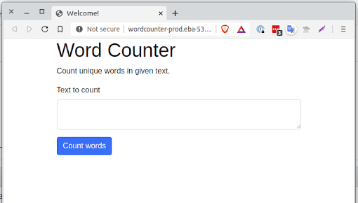 A fully deployed Word Counter application