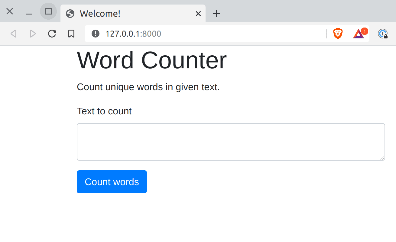 Word Counter with subtitle and form