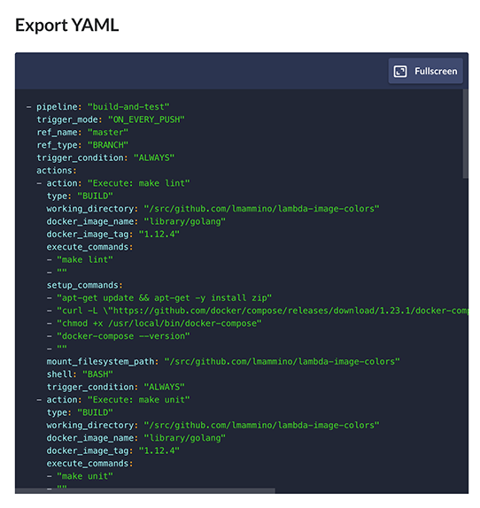 Buddy.Works export pipeline to YAML code