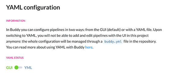 Buddy.Works switch from GUI to YAML config