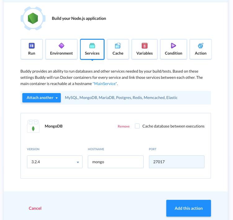 Select mongodb service